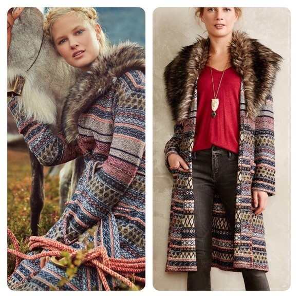 Anthropologie angel of the north fur shaw coat S